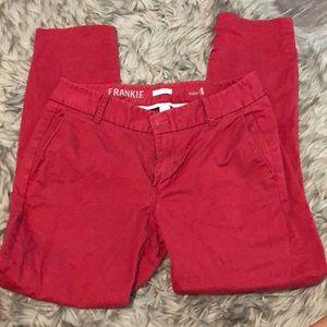 J Crew Frankie Red Ankle Pants